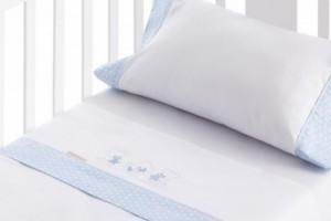 Juego de sábanas bordadas para bebé azul 201