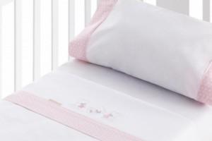 Juego de sábanas bordadas para bebé rosa 201