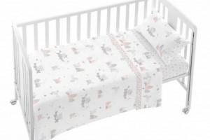 Juego de sábanas de bebe gris y rosa - Burrito Blanco