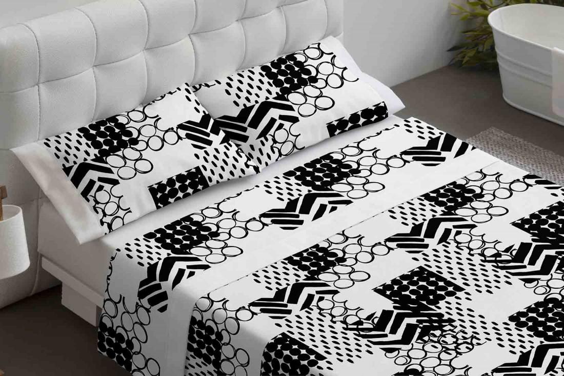 Juego sábanas estampado negro Burrito Blanco
