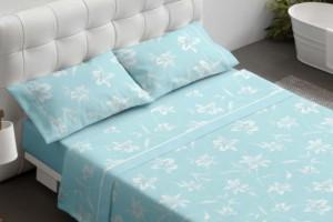 Juego de sábanas estampado color turquesa - Burrito Blanco