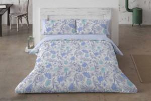 Funda nórdica estampada de flores azul - Burrito Blanco