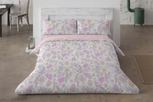 Funda nórdica estampada con flores rosas - Burrito Blanco