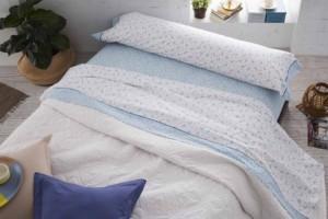 Juego de sábanas azul y blanco - Burrito Blanco