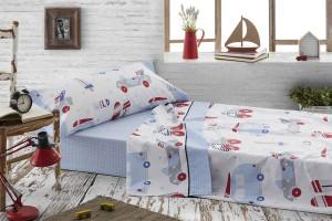 Consigue el juego de sábanas infantil azul - Burrito Blanco