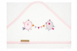 Capa de baño bebé bordada 211 rosa de Burrito Blanco
