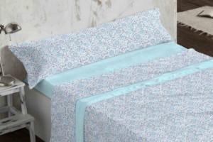 Juego de sábanas de coralina azul 957 muy suave y cálido de Burrito Blanco