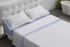 Juego de sábanas 100% algodón 602 Azul de Burrito Blanco