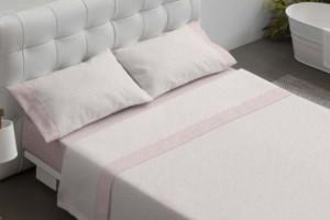 Juego de sábanas 100% algodón 603 Rosa de Burrito Blanco