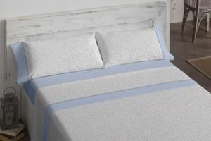 Juego de sábanas 100% algodón 605 Azul de Burrito Blanco