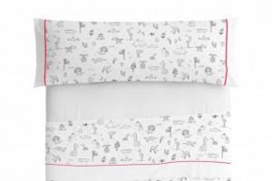 Juego de sábanas infantil algodón 009 Gris de Burrito Blanco