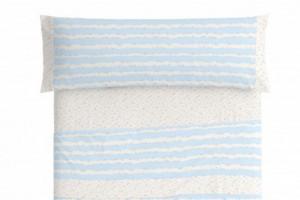 Juego de sábanas infantil algodón 011 Azul de Burrito Blanco