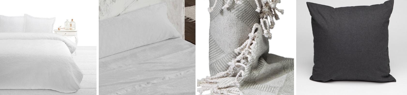 32af5467c La ropa de cama que hemos elegido para este primer conjunto es  una colcha  en blanco tejida en jacquard con un diseño de hojas en blanco.
